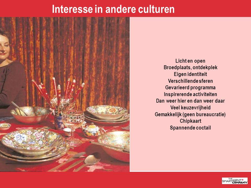 5 Interesse in andere culturen Licht en open Broedplaats, ontdekplek Eigen identiteit Verschillende sferen Gevarieerd programma Inspirerende activitei
