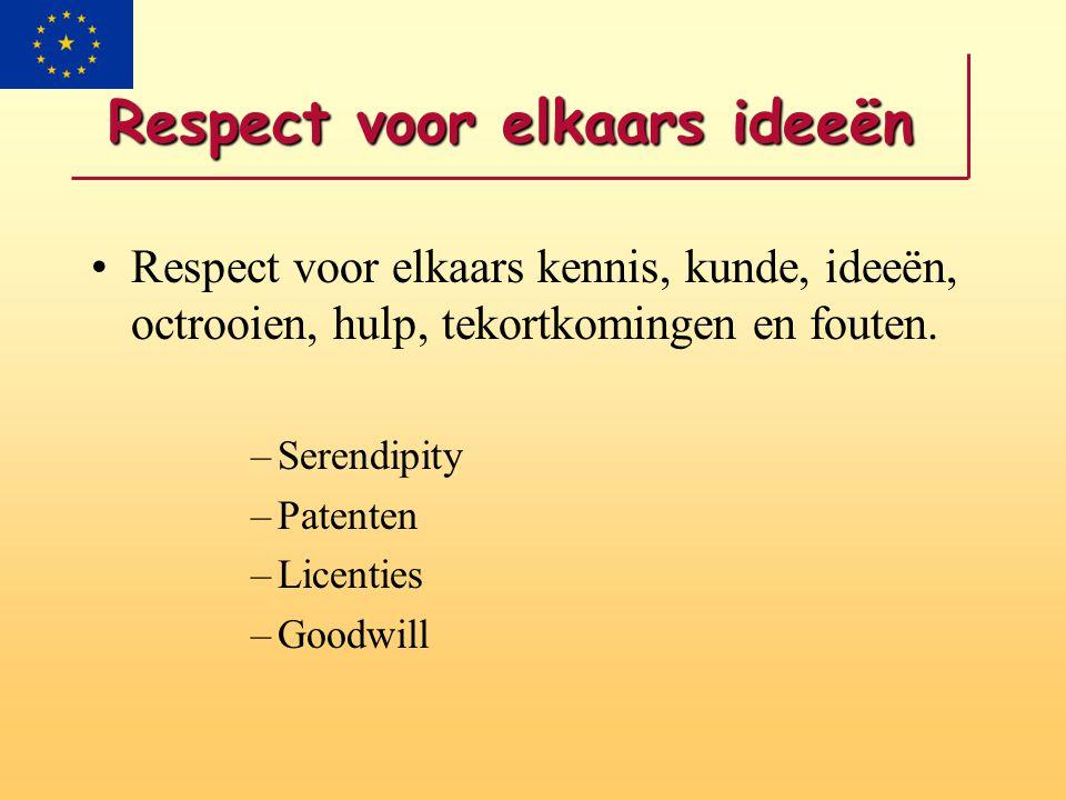 Respect voor elkaars ideeën Respect voor elkaars kennis, kunde, ideeën, octrooien, hulp, tekortkomingen en fouten.