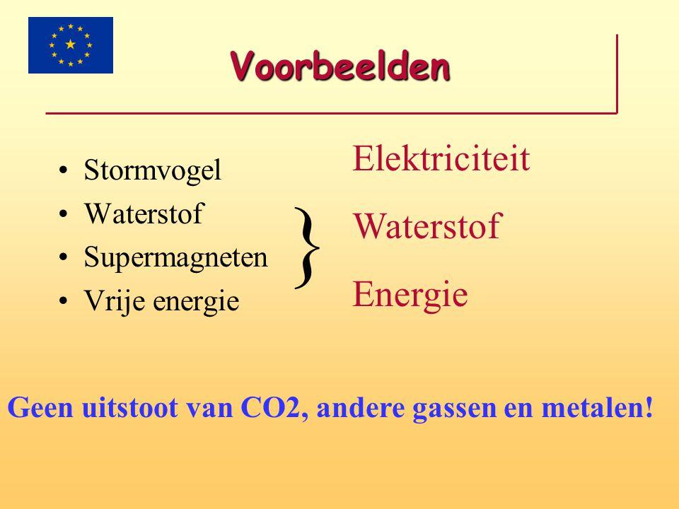 Voorbeelden Stormvogel Waterstof Supermagneten Vrije energie } Elektriciteit Waterstof Energie Geen uitstoot van CO2, andere gassen en metalen!