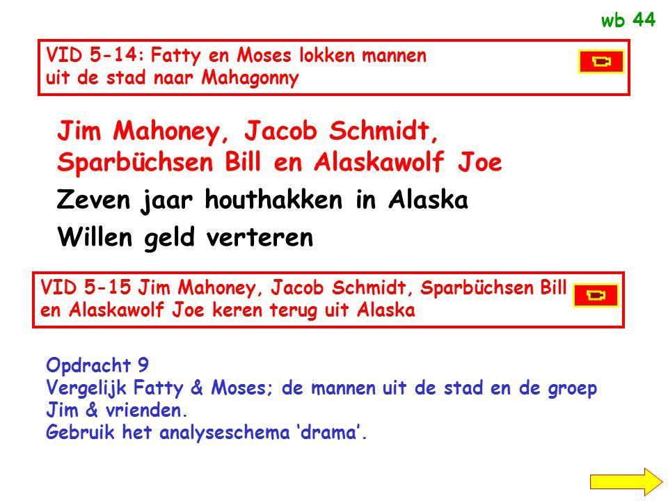 Weduwe Begbick, Fatty en Moses Beruchte bedriegers Stichten Mahagonny (Netzestadt = spinneweb) Stad van licht vertier Mannen geld afhandig maken Haifi