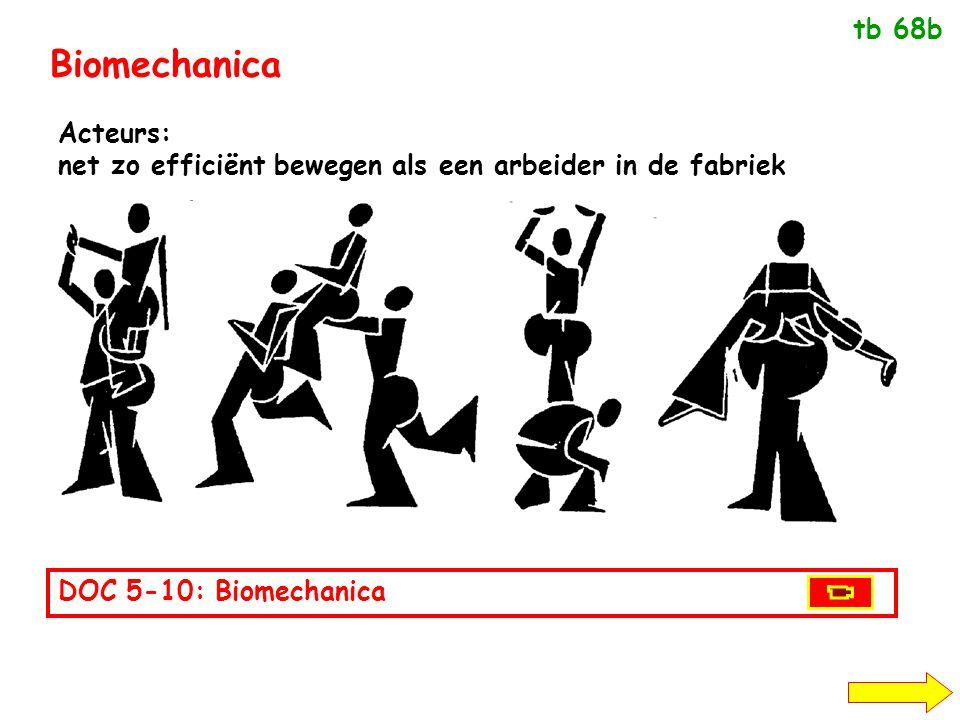 Biomechanica Acteurs: net zo efficiënt bewegen als een arbeider in de fabriek tb 68b DOC 5-10: Biomechanica