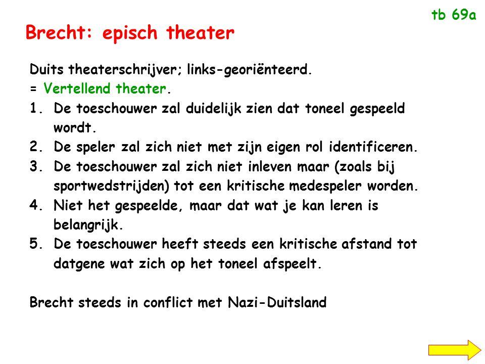 Brecht: episch theater Duits theaterschrijver; links-georiënteerd.