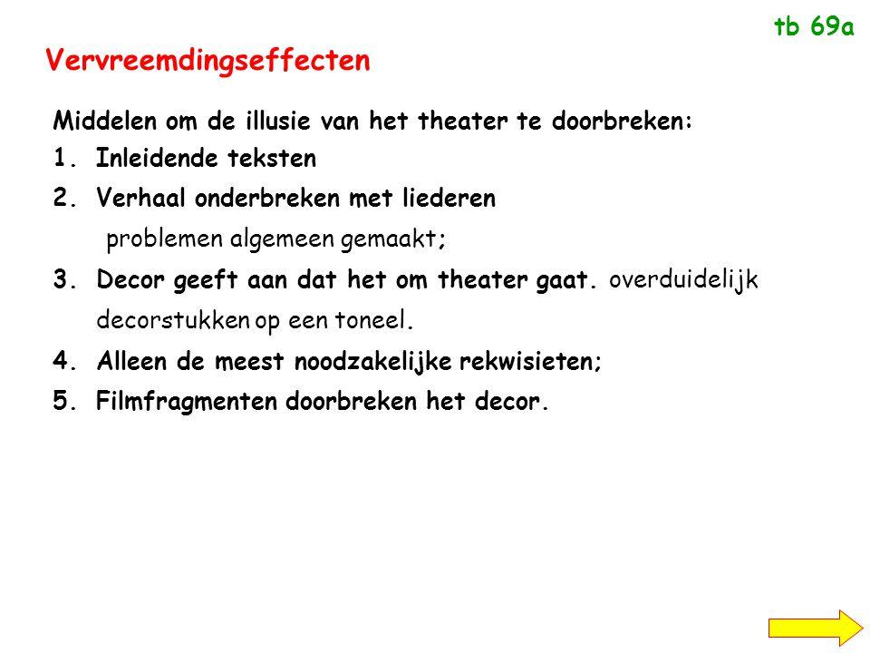 Vervreemdingseffecten Middelen om de illusie van het theater te doorbreken: 1.Inleidende teksten 2.Verhaal onderbreken met liederen problemen algemeen gemaakt; 3.Decor geeft aan dat het om theater gaat.