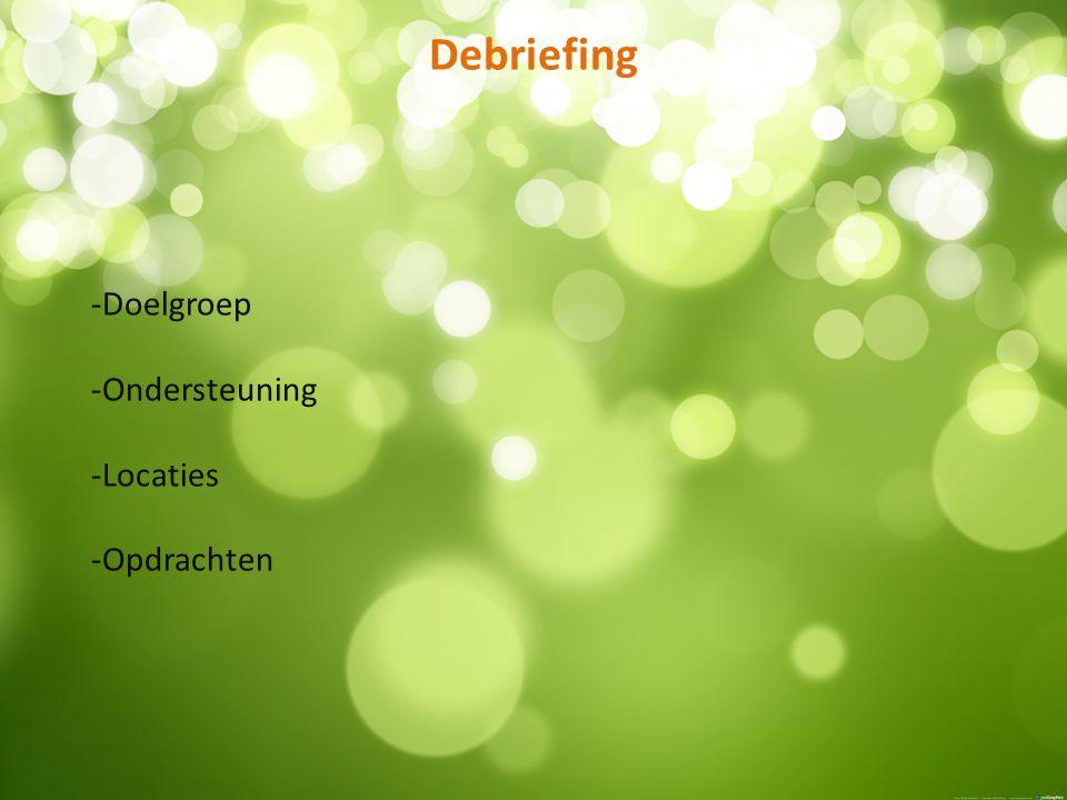 Debriefing -Doelgroep -Ondersteuning -Locaties -Opdrachten