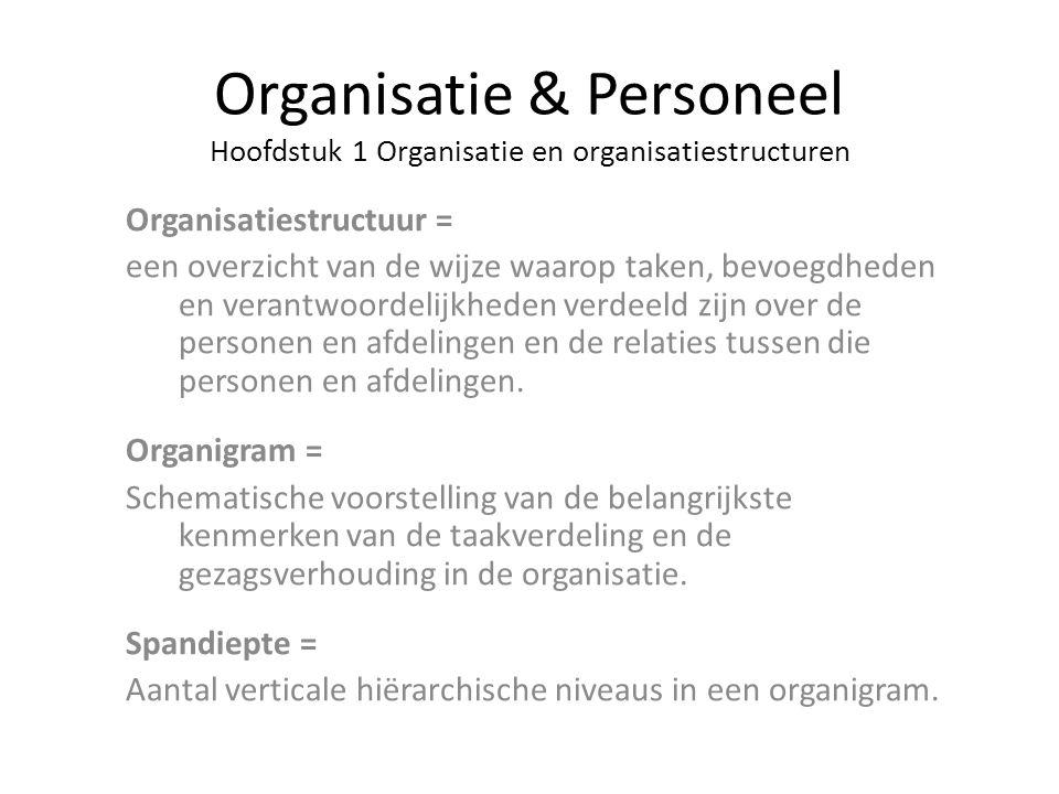 Organisatie & Personeel Hoofdstuk 1 Organisatie en organisatiestructuren Organisatiestructuur = een overzicht van de wijze waarop taken, bevoegdheden