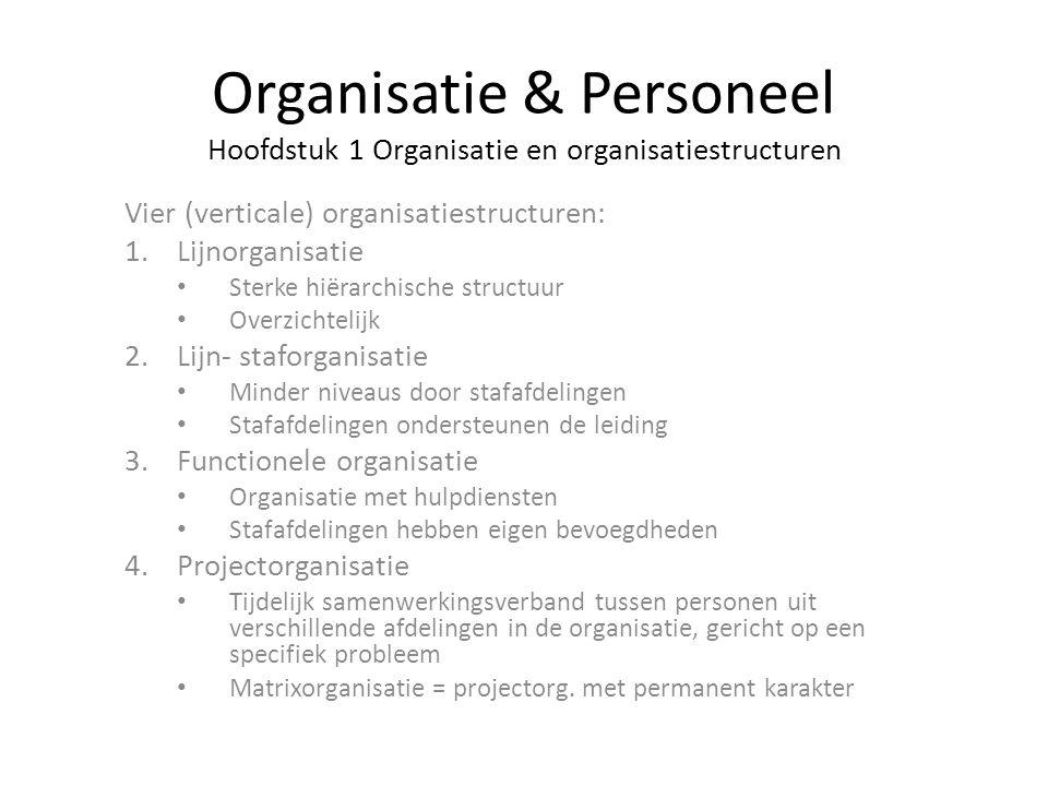 Organisatie & Personeel Hoofdstuk 1 Organisatie en organisatiestructuren Vier (verticale) organisatiestructuren: 1.Lijnorganisatie Sterke hiërarchisch