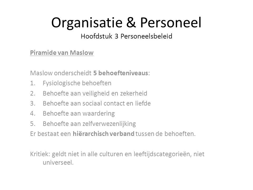 Organisatie & Personeel Hoofdstuk 3 Personeelsbeleid Piramide van Maslow Maslow onderscheidt 5 behoefteniveaus: 1.Fysiologische behoeften 2.Behoefte a