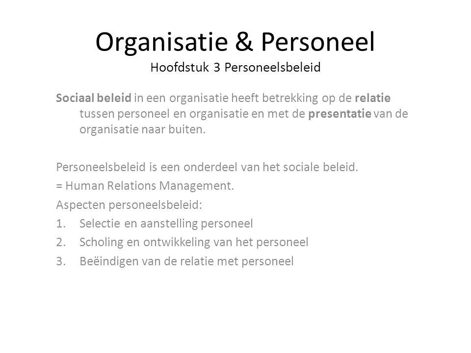 Organisatie & Personeel Hoofdstuk 3 Personeelsbeleid Sociaal beleid in een organisatie heeft betrekking op de relatie tussen personeel en organisatie