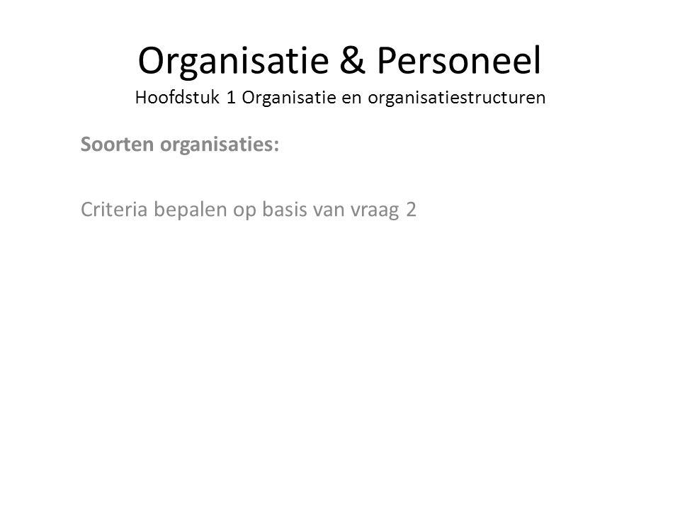 Organisatie & Personeel Hoofdstuk 1 Organisatie en organisatiestructuren Soorten organisaties: Criteria bepalen op basis van vraag 2