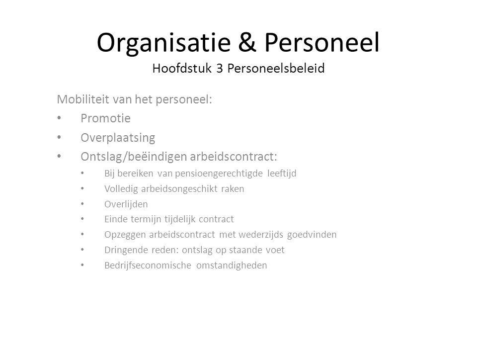 Organisatie & Personeel Hoofdstuk 3 Personeelsbeleid Mobiliteit van het personeel: Promotie Overplaatsing Ontslag/beëindigen arbeidscontract: Bij bere