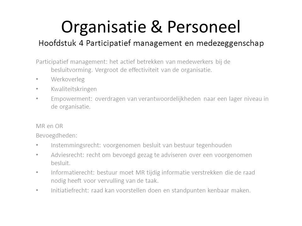 Participatief management: het actief betrekken van medewerkers bij de besluitvorming. Vergroot de effectiviteit van de organisatie. Werkoverleg Kwalit