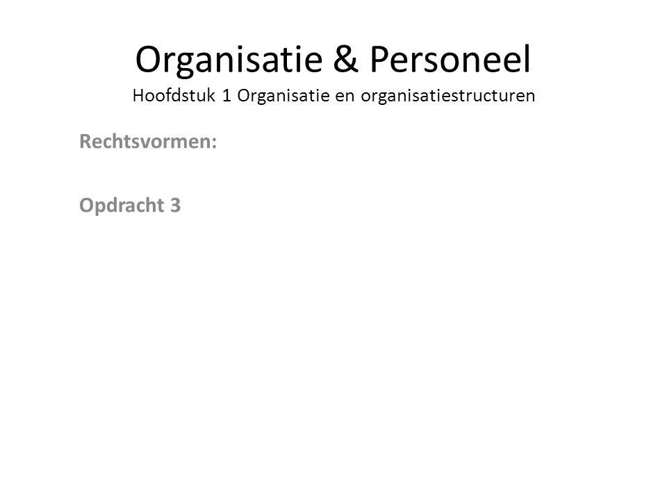 Organisatie & Personeel Hoofdstuk 1 Organisatie en organisatiestructuren Rechtsvormen: Opdracht 3
