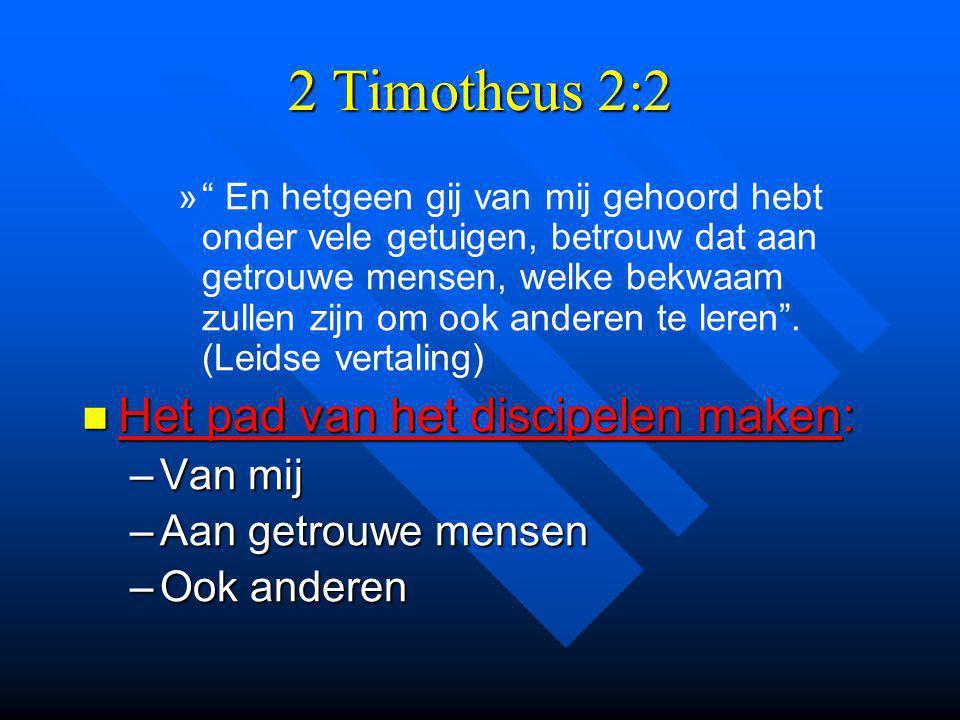 2 Timotheus 2:2 » » En hetgeen gij van mij gehoord hebt onder vele getuigen, betrouw dat aan getrouwe mensen, welke bekwaam zullen zijn om ook anderen te leren .