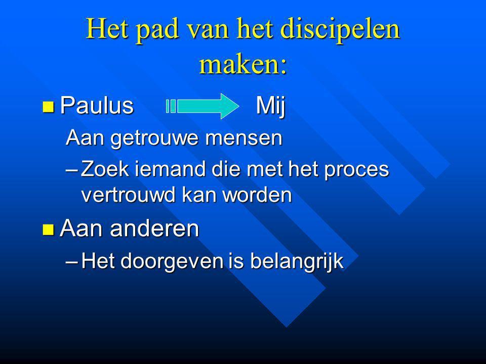 Het pad van het discipelen maken: Paulus Mij Paulus Mij Aan getrouwe mensen –Zoek iemand die met het proces vertrouwd kan worden Aan anderen Aan anderen –Het doorgeven is belangrijk
