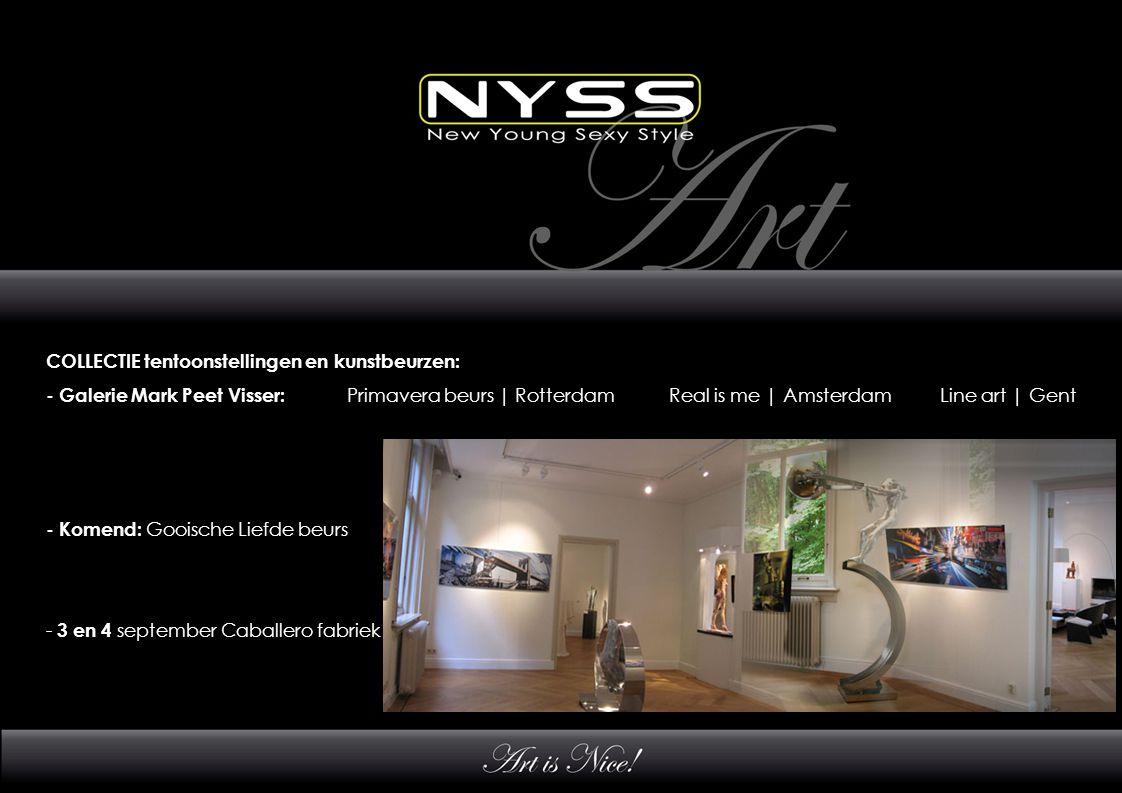COLLECTIE tentoonstellingen en kunstbeurzen: - Galerie Mark Peet Visser: Primavera beurs | Rotterdam Real is me | Amsterdam Line art | Gent - Komend: Gooische Liefde beurs - 3 en 4 september Caballero fabriek