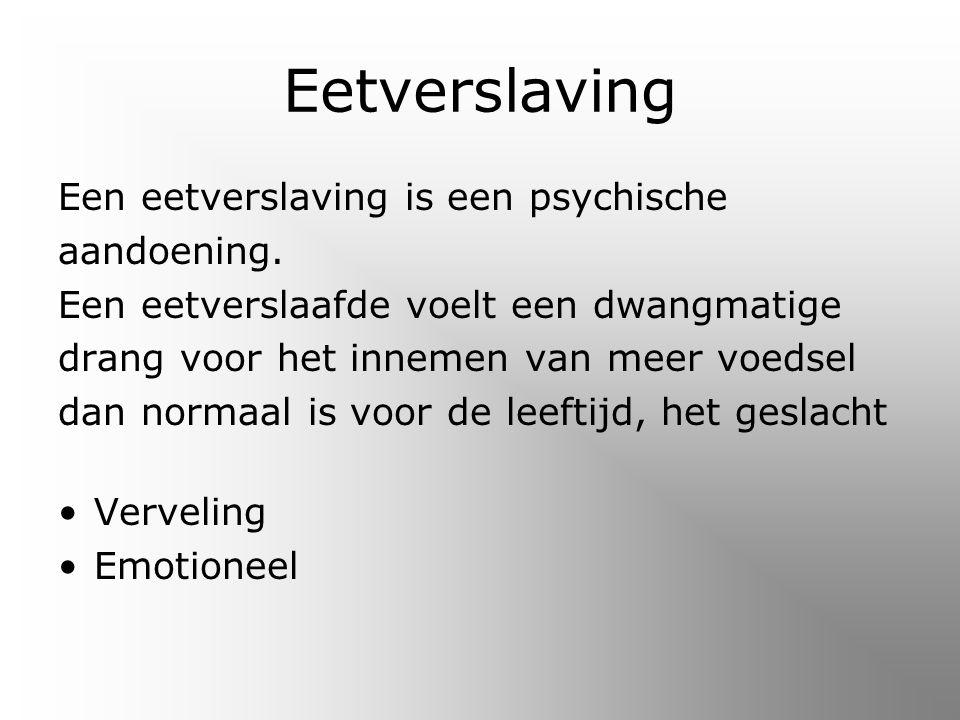 Eetverslaving Een eetverslaving is een psychische aandoening.