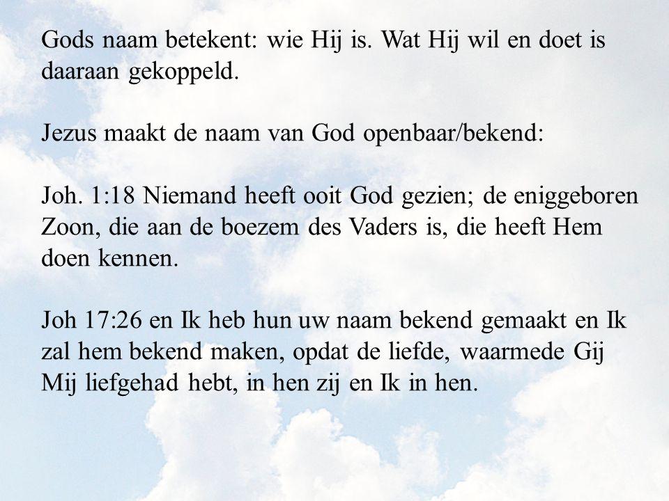 Gods naam betekent: wie Hij is. Wat Hij wil en doet is daaraan gekoppeld. Jezus maakt de naam van God openbaar/bekend: Joh. 1:18 Niemand heeft ooit Go