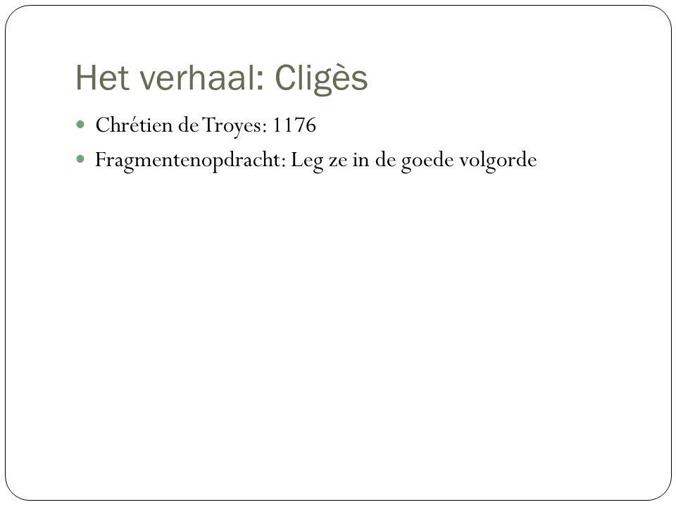 Het verhaal: Cligès Chrétien de Troyes: 1176 Fragmentenopdracht: Leg ze in de goede volgorde