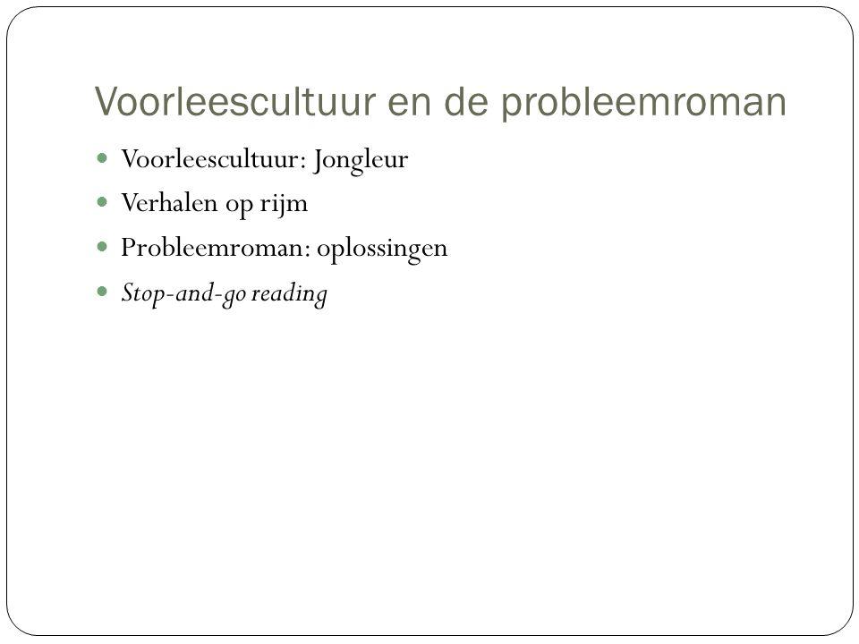 Voorleescultuur en de probleemroman Voorleescultuur: Jongleur Verhalen op rijm Probleemroman: oplossingen Stop-and-go reading