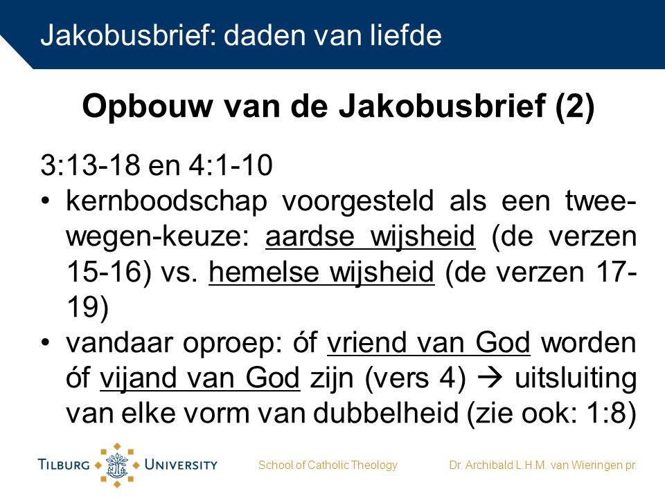 Jakobusbrief: daden van liefde School of Catholic TheologyDr.