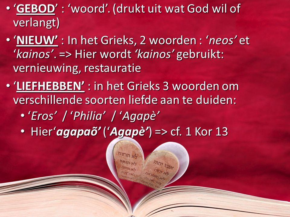 'GEBOD' : 'woord'. (drukt uit wat God wil of verlangt) 'GEBOD' : 'woord'. (drukt uit wat God wil of verlangt) 'NIEUW' : In het Grieks, 2 woorden : 'ne