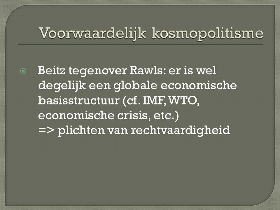  Beitz tegenover Rawls: er is wel degelijk een globale economische basisstructuur (cf. IMF, WTO, economische crisis, etc.) => plichten van rechtvaard