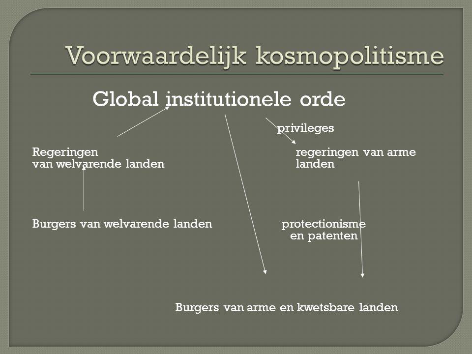 Global institutionele orde privileges Regeringen regeringen van arme van welvarende landen landen Burgers van welvarende landen protectionisme en patenten Burgers van arme en kwetsbare landen