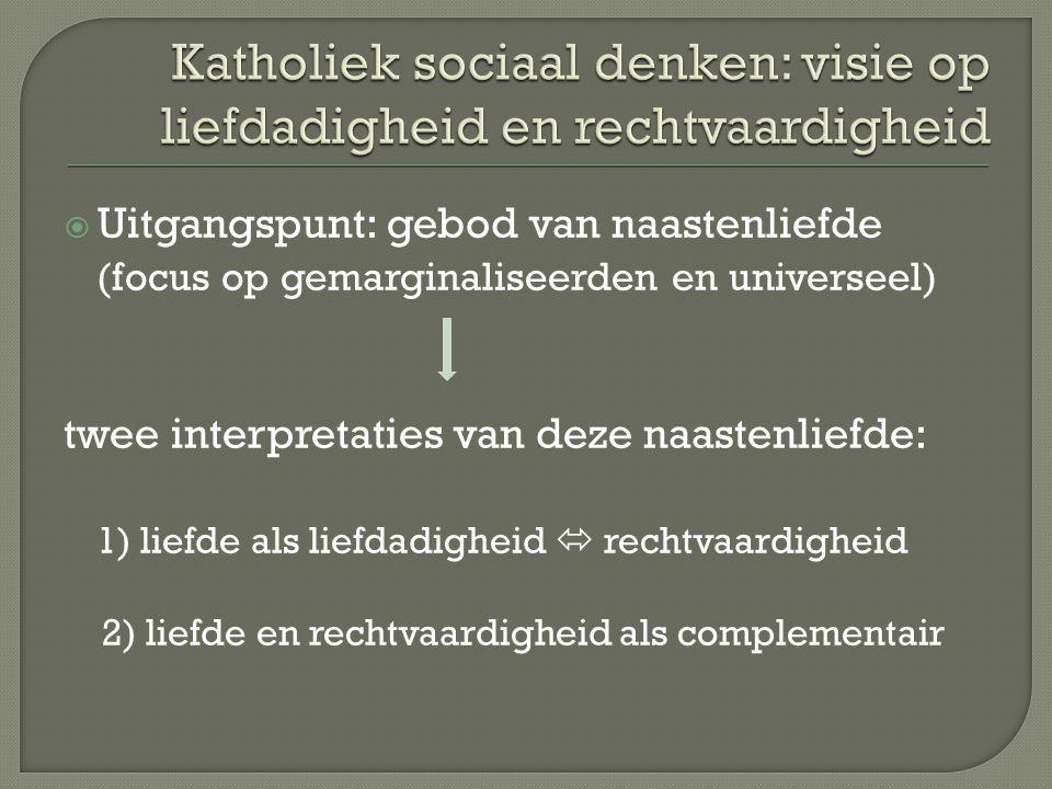  Uitgangspunt: gebod van naastenliefde (focus op gemarginaliseerden en universeel) twee interpretaties van deze naastenliefde: 1) liefde als liefdadigheid  rechtvaardigheid 2) liefde en rechtvaardigheid als complementair