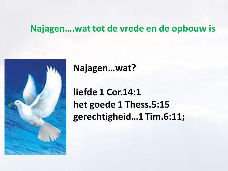 Najagen….wat tot de vrede en de opbouw is Najagen…wat? liefde 1 Cor.14:1 het goede 1 Thess.5:15 gerechtigheid…1 Tim.6:11;