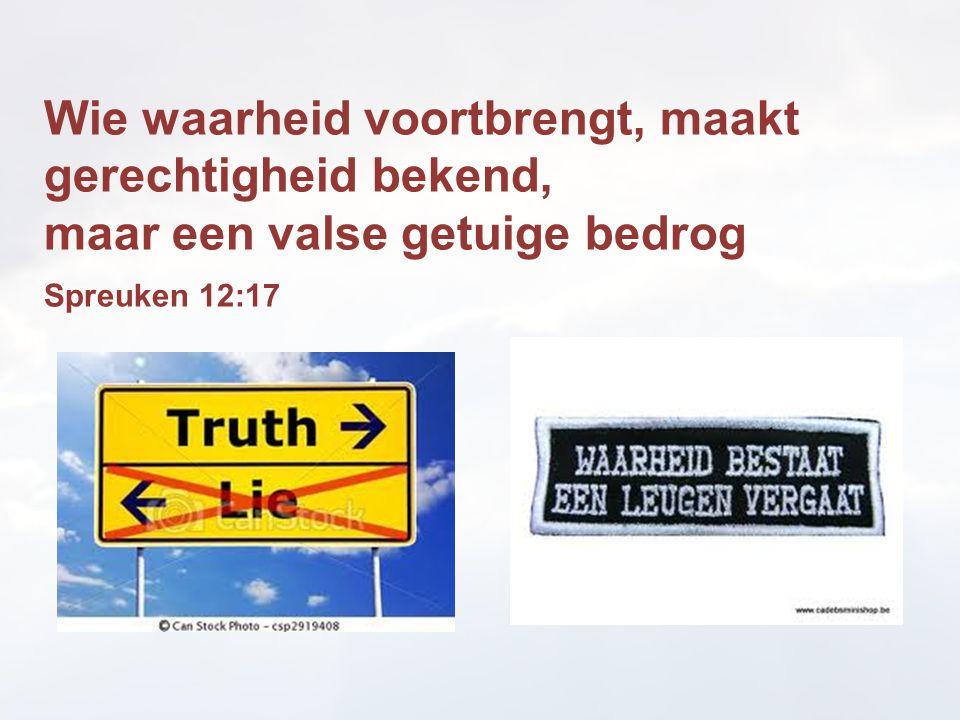 Wie waarheid voortbrengt, maakt gerechtigheid bekend, maar een valse getuige bedrog Spreuken 12:17