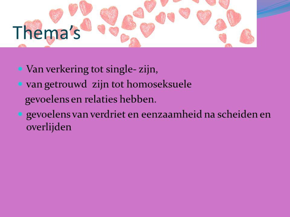 Thema's Van verkering tot single- zijn, van getrouwd zijn tot homoseksuele gevoelens en relaties hebben.