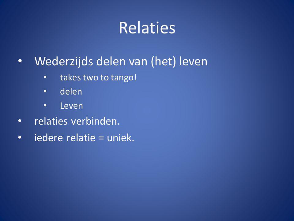 Relaties Wederzijds delen van (het) leven takes two to tango.