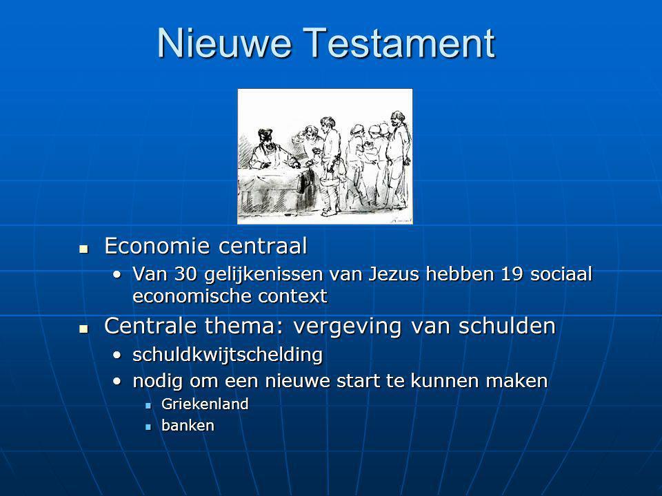 Nieuwe Testament Economie centraal Economie centraal Van 30 gelijkenissen van Jezus hebben 19 sociaal economische contextVan 30 gelijkenissen van Jezu