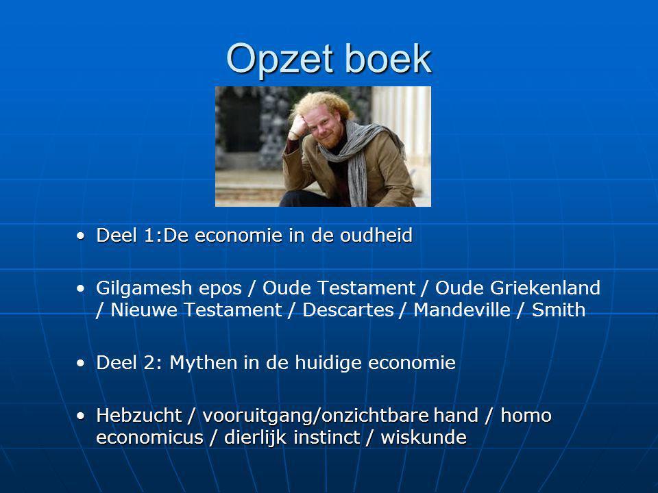 Opzet boek Deel 1:De economie in de oudheidDeel 1:De economie in de oudheid Gilgamesh epos / Oude Testament / Oude Griekenland / Nieuwe Testament / De