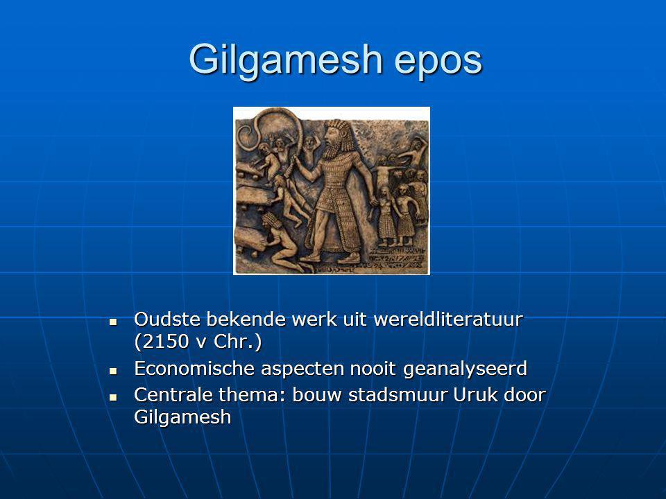 Gilgamesh epos Oudste bekende werk uit wereldliteratuur (2150 v Chr.) Oudste bekende werk uit wereldliteratuur (2150 v Chr.) Economische aspecten nooi