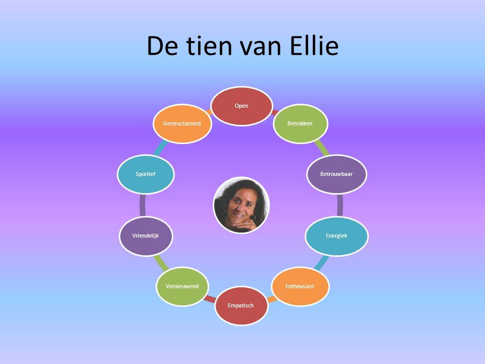 De tien van Ellie OpenBetrokkenBetrouwbaarEnergiekEnthousiastEmpatischVernieuwendVriendelijkSportiefGestructureerd
