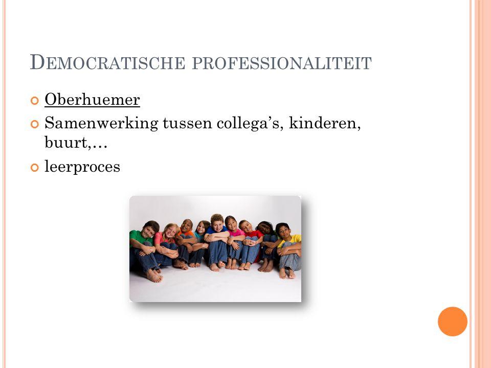 D EMOCRATISCHE PROFESSIONALITEIT Oberhuemer Samenwerking tussen collega's, kinderen, buurt,… leerproces