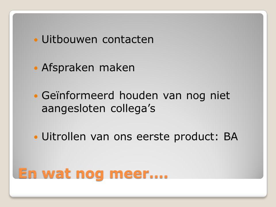 En wat nog meer…. Uitbouwen contacten Afspraken maken Geïnformeerd houden van nog niet aangesloten collega's Uitrollen van ons eerste product: BA