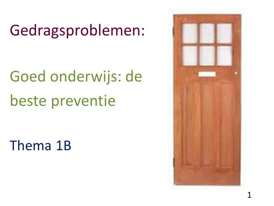 Attributies van leraren Oorzaak van probleemgedrag 81% ouders 14 % leerling 4% school 1% leraar Ysseldyke, Algozzine & Thurlow (2000) 2
