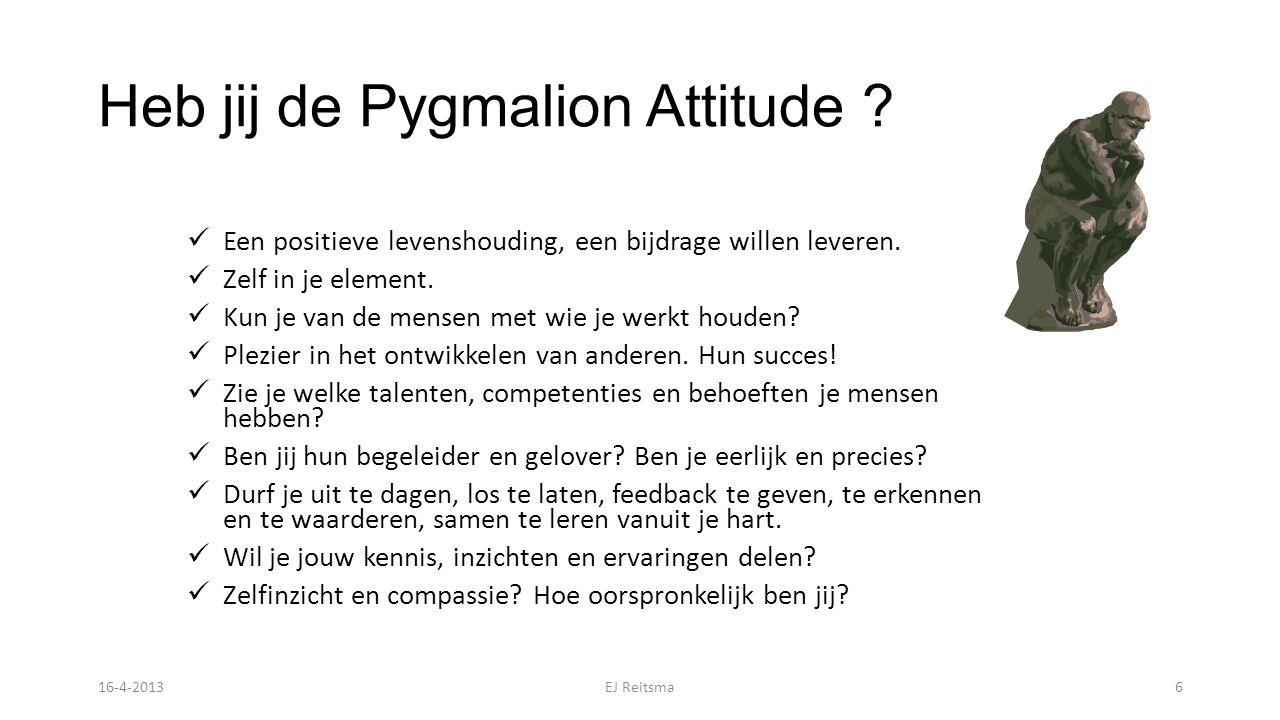 Heb jij de Pygmalion Attitude .Een positieve levenshouding, een bijdrage willen leveren.