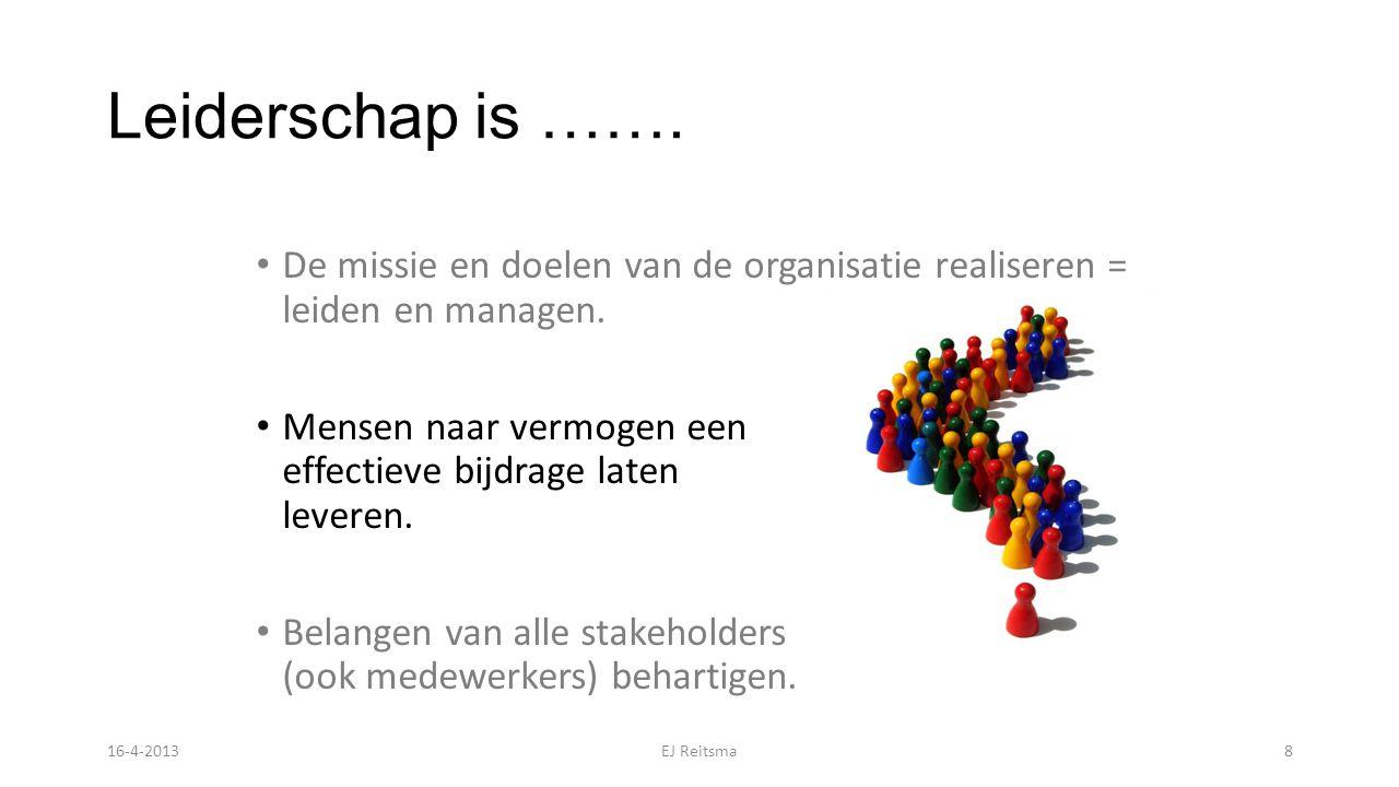Leiderschap is ……. De missie en doelen van de organisatie realiseren = leiden en managen. Mensen naar vermogen een effectieve bijdrage laten leveren.