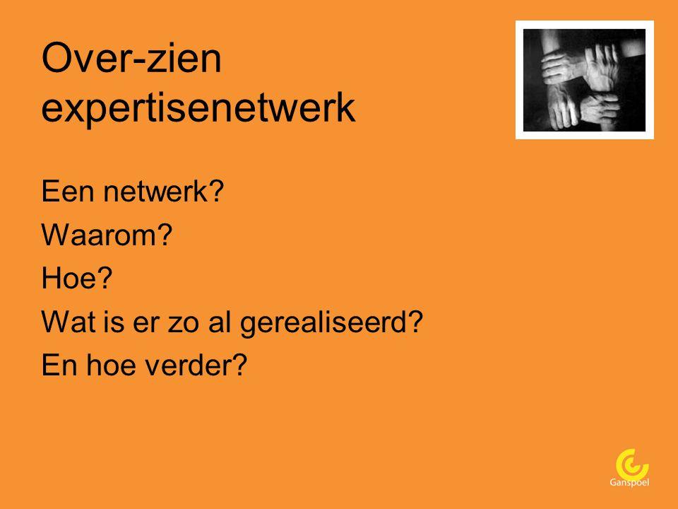 Over-zien expertisenetwerk Een netwerk Waarom Hoe Wat is er zo al gerealiseerd En hoe verder