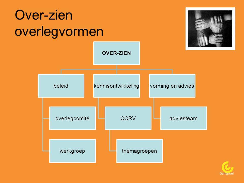 Over-zien overlegvormen OVER-ZIEN beleid overlegcomité werkgroep kennisontwikkeling CORV themagroepen vorming en advies adviesteam