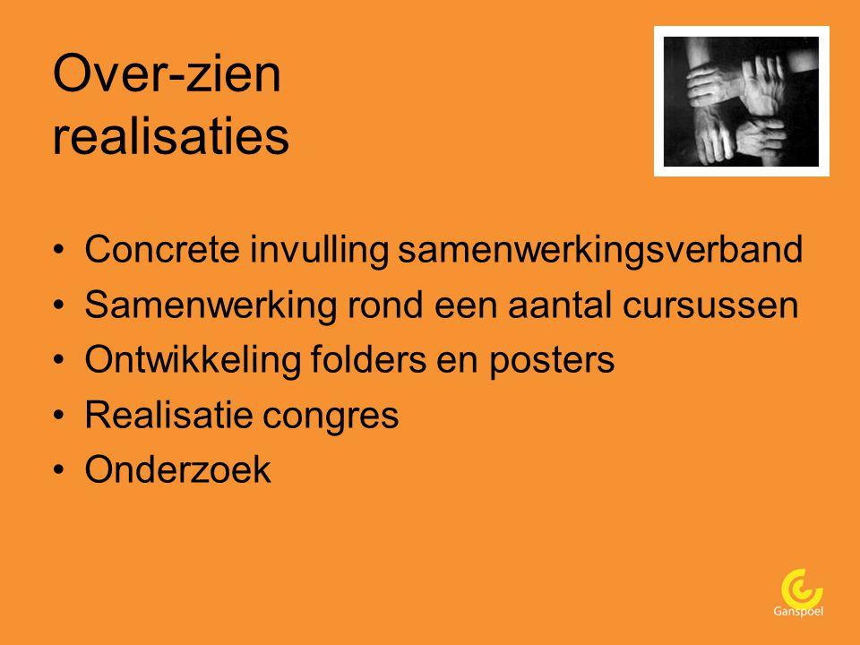 Over-zien realisaties Concrete invulling samenwerkingsverband Samenwerking rond een aantal cursussen Ontwikkeling folders en posters Realisatie congres Onderzoek