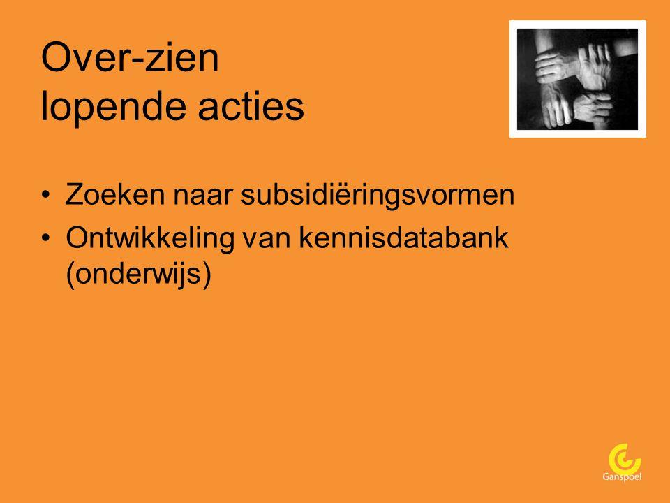 Over-zien lopende acties Zoeken naar subsidiëringsvormen Ontwikkeling van kennisdatabank (onderwijs)