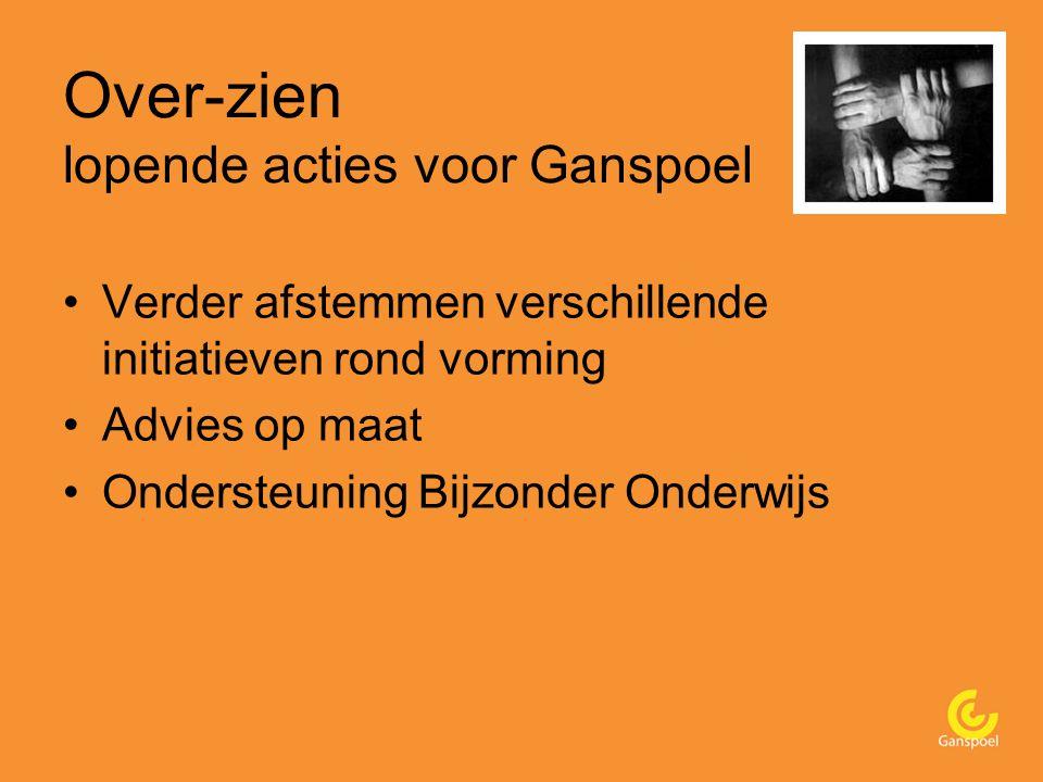 Over-zien lopende acties voor Ganspoel Verder afstemmen verschillende initiatieven rond vorming Advies op maat Ondersteuning Bijzonder Onderwijs
