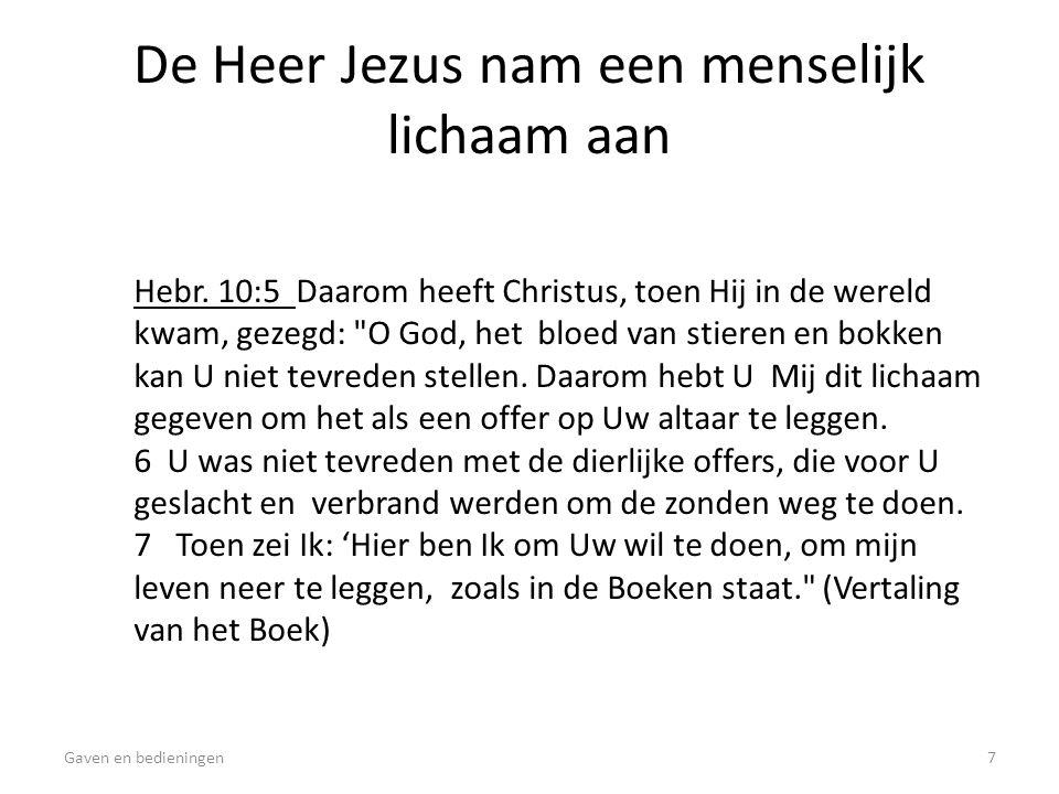 De Heer Jezus nam een menselijk lichaam aan Hebr. 10:5 Daarom heeft Christus, toen Hij in de wereld kwam, gezegd: