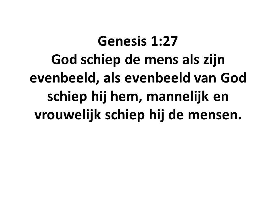 Genesis 1:27 God schiep de mens als zijn evenbeeld, als evenbeeld van God schiep hij hem, mannelijk en vrouwelijk schiep hij de mensen.