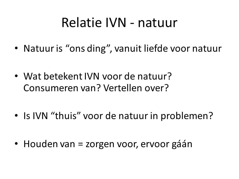 """Relatie IVN - natuur Natuur is """"ons ding"""", vanuit liefde voor natuur Wat betekent IVN voor de natuur? Consumeren van? Vertellen over? Is IVN """"thuis"""" v"""