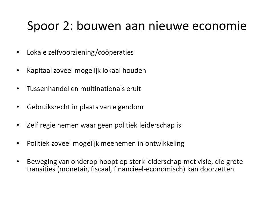 Spoor 2: bouwen aan nieuwe economie Lokale zelfvoorziening/coöperaties Kapitaal zoveel mogelijk lokaal houden Tussenhandel en multinationals eruit Geb